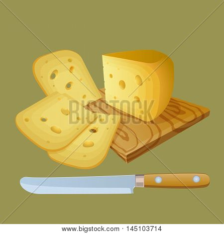 Cheese cut into chunks. Kitchen cutting board. Knife for slicing cheese. Stock Vector illustration.