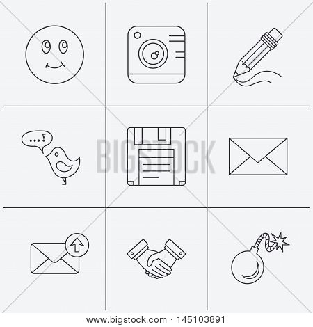 Photo camera, pencil and handshake icons. Inbox e-mail, message speech bubble and smile linear signs. Linear icons on white background. Vector
