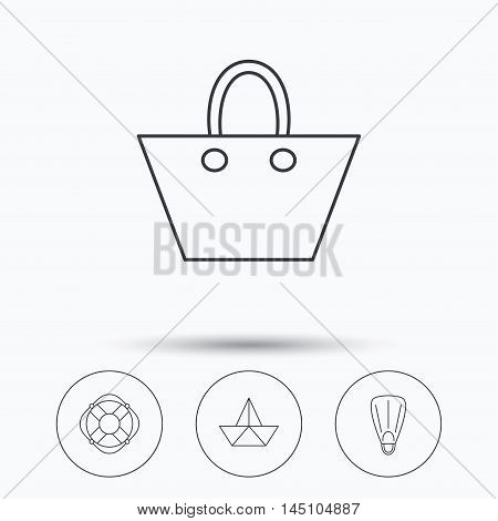 Paper boat, flippers and lifebuoy icons. Women handbag linear sign. Linear icons in circle buttons. Flat web symbols. Vector
