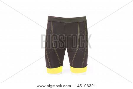 a bike shorts with a chamois pad for comfortable riding in yellow color