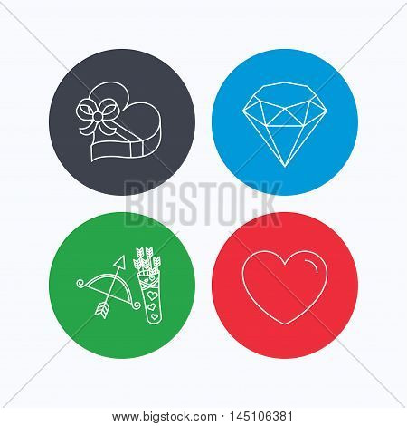 Love heart, brilliant and gift box icons. Amour bow with arrows linear signs. Linear icons on colored buttons. Flat web symbols. Vector