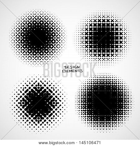 Halftone Backgrounds. Vector Set of Isolated Halftone Modern Design Element. Simple Abstract Black and white raster dots