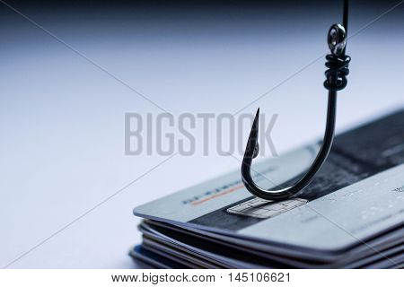 credit card phishing attack / A hook on a pile of credit cards
