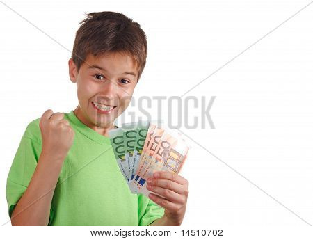 Happy Boy With Money