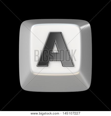 Computer Keyboard Key Font. Letter A 3D