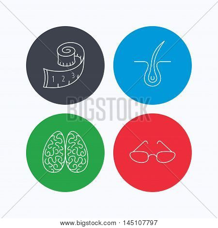Glasses, neurology and trichology icons. Weight loss linear sign. Linear icons on colored buttons. Flat web symbols. Vector