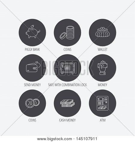 Piggy bank, cash money and wallet icons. Safe box, send money and dollar usd linear signs. Give money, coins and ATM icons. Linear icons in circle buttons. Flat web symbols. Vector