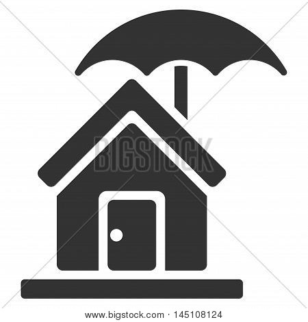 House under Umbrella icon. Vector style is flat iconic symbol, gray color, white background.