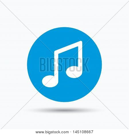 Music icon. Musical note sign. Melody symbol. Blue circle button with flat web icon. Vector
