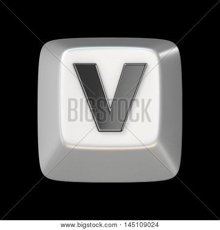 Computer Keyboard Key Font. Letter V 3D