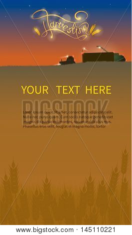 Harvesting, machinery harvester, tractor, vector design web banner . New harvest, grain growing concept. title and text layout