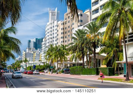 MIAMI BEACH, USA - AUGUST 6, 2016 : Famous hotels at Collins Avenue in Miami Beach