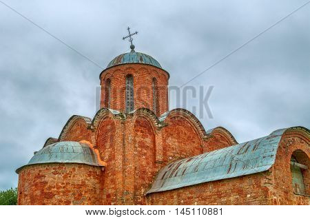 Church of the Transfiguration of Savior on Kovalevo in Veliky Novgorod Russia. Closeup view of facade and dome. Architecture view of Orthodox landmark
