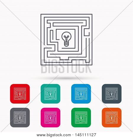Labyrinth icon. Problem challenge sign. Find solution symbol. Linear icons in squares on white background. Flat web symbols. Vector
