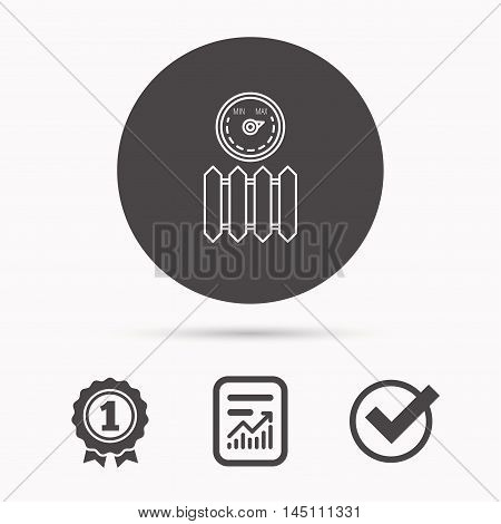 Radiator with regulator icon. Heater sign. Maximum temperature. Report document, winner award and tick. Round circle button with icon. Vector