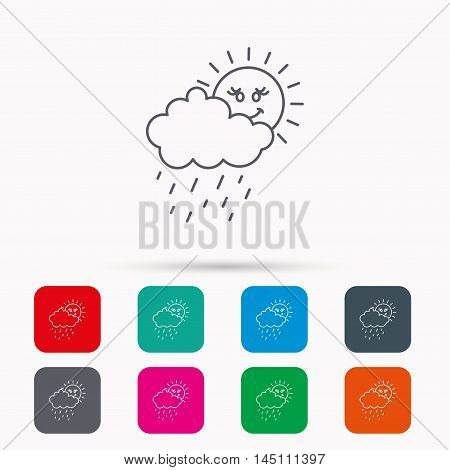 Rain and sun icon. Water drops and cloud sign. Rainy overcast day symbol. Linear icons in squares on white background. Flat web symbols. Vector