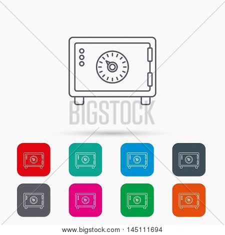 Safe icon. Money deposit sign. Combination lock symbol. Linear icons in squares on white background. Flat web symbols. Vector