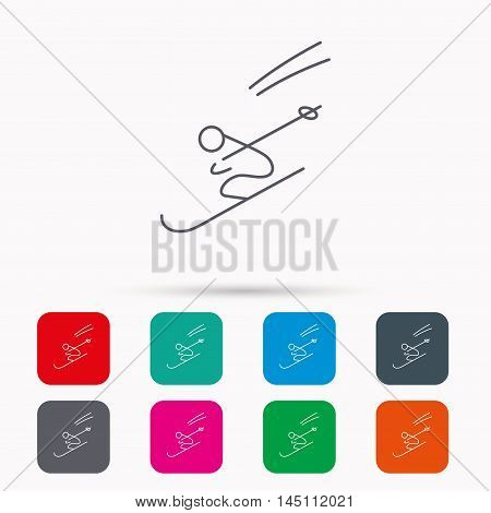 Skiing icon. Skis jumping extreme sport sign. Speed competition symbol. Linear icons in squares on white background. Flat web symbols. Vector
