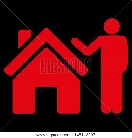 Realty Buyer icon. Vector style is flat iconic symbol, red color, black background.