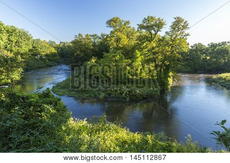 A scenic river in the woods in summer.