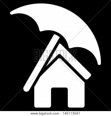 Home under Umbrella icon. Vector style is flat iconic symbol, white color, black background.