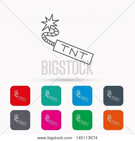TNT dynamite icon. Bomb explosion sign. Linear icons in squares on white background. Flat web symbols. Vector
