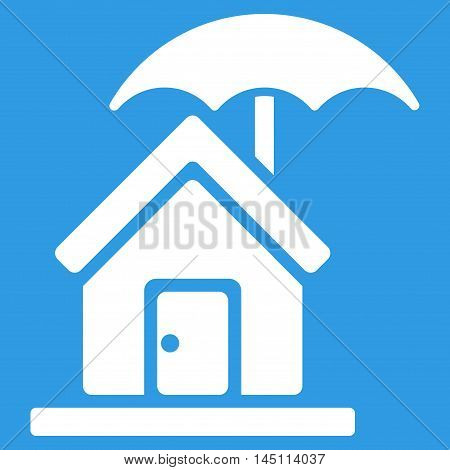 House under Umbrella icon. Vector style is flat iconic symbol, white color, blue background.