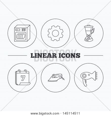 Dishwasher, hairdryer and mixer icons. Iron linear sign. Flat cogwheel and calendar symbols. Linear icons in circle buttons. Vector