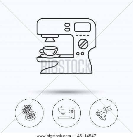 Coffee maker, sewing machine and hairdryer icons. Waffle-iron linear sign. Linear icons in circle buttons. Flat web symbols. Vector