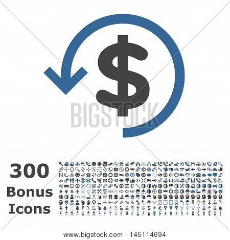 Refund icon with 300 bonus icons. Glyph illustration style is flat iconic bicolor symbols, cobalt and gray colors, white background.