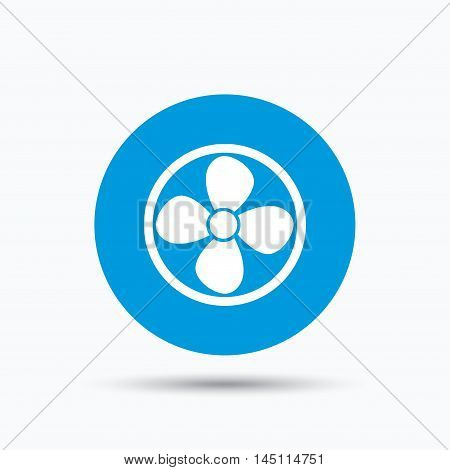 Ventilation icon. Air ventilator or fan symbol. Blue circle button with flat web icon. Vector
