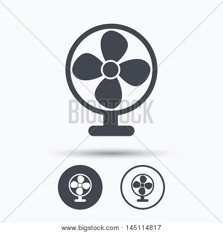 Ventilator icon. Air ventilation or fan symbol. Circle buttons with flat web icon on white background. Vector