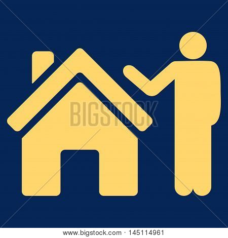 Realty Buyer icon. Vector style is flat iconic symbol, yellow color, blue background.