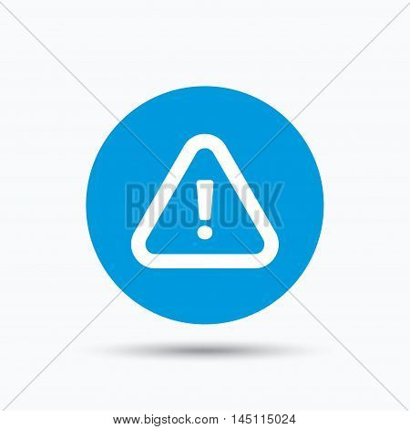 Warning icon. Attention exclamation mark symbol. Blue circle button with flat web icon. Vector