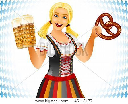 Oktoberfest Girl holds glass of beer and pretzel or brezel; Waitress in traditional German clothes; Blonde smiling; No Mesh; Vector Eps10