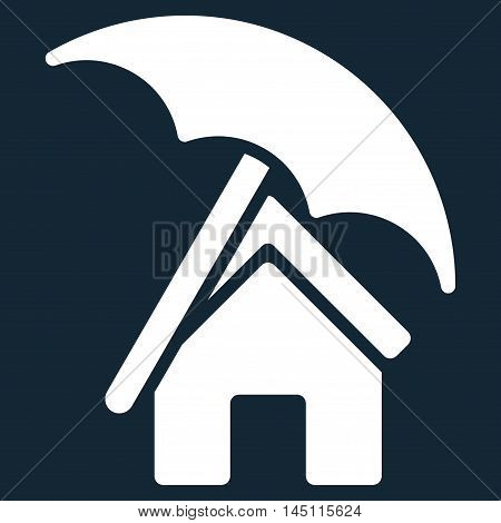 Home under Umbrella icon. Vector style is flat iconic symbol, white color, dark blue background.