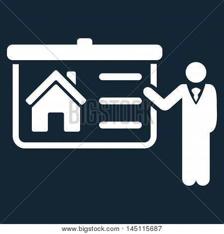 House Presentation icon. Vector style is flat iconic symbol, white color, dark blue background.