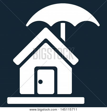 House under Umbrella icon. Vector style is flat iconic symbol, white color, dark blue background.