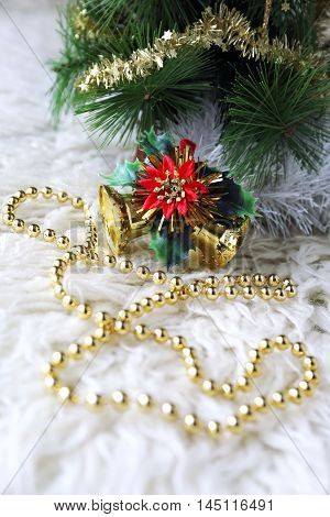 New Year composition: Christmas-tree decorations and garland