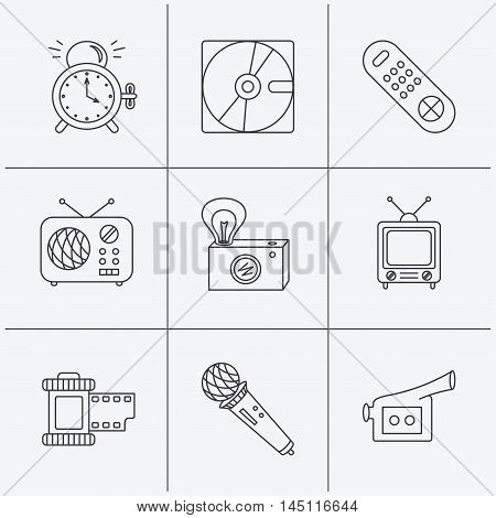Microphone, video camera and photo icons. Alarm clock, retro radio and TV remote linear signs. Linear icons on white background. Vector