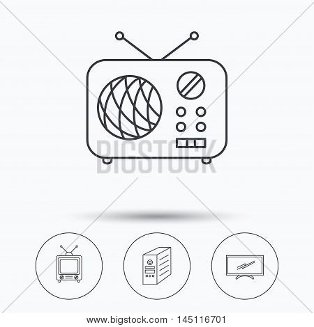 Retro TV, radio and PC case icons. Computer linear sign. Linear icons in circle buttons. Flat web symbols. Vector