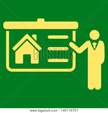 House Presentation icon. Vector style is flat iconic symbol, yellow color, green background.