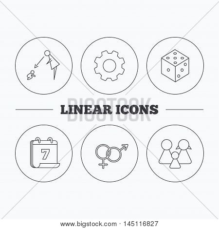 Male, female, dice and family icons. Under supervision linear sign. Flat cogwheel and calendar symbols. Linear icons in circle buttons. Vector
