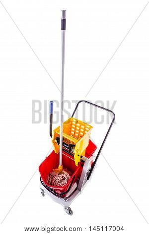 Red Mop Bucket Isolated
