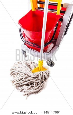 Red Mop Bucket Isolated Detail