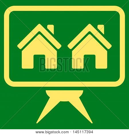 Realty Project icon. Vector style is flat iconic symbol, yellow color, green background.