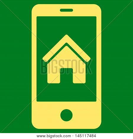 Smartphone Homepage icon. Vector style is flat iconic symbol, yellow color, green background.