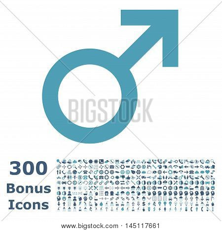 Male Symbol icon with 300 bonus icons. Glyph illustration style is flat iconic bicolor symbols, cyan and blue colors, white background.