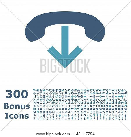 Phone Hang Up icon with 300 bonus icons. Glyph illustration style is flat iconic bicolor symbols, cyan and blue colors, white background.