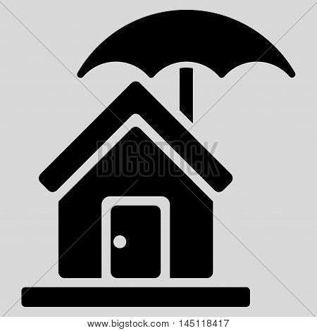 House under Umbrella icon. Vector style is flat iconic symbol, black color, light gray background.